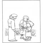 Раскраски по Библии - 5 хлебов и 2 рыбы 1