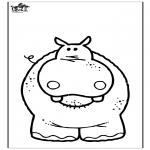 Раскраски с животными - Бегемот 3