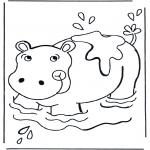 Раскраски с животными - Бегемот в воде