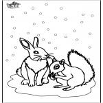 Зимние раскраски - Белка и Кролик