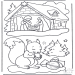 Зимние раскраски - Белка на снегу