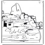 Раскраски с животными - Белый медведь и морской лев