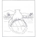 Раскраски с животными - Белый медведь на бочке