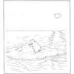 Раскраски с животными - Белый медведь на льдине