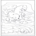 Раскраски с животными - Белый медведь с детенышем
