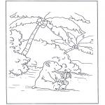 Детские раскраски - Белый медвежонок Ларс 8