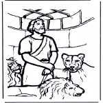 Раскраски по Библии - Даниил во рву со львами 1