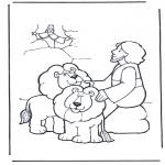 Раскраски по Библии - Даниил во рву со львами 2