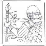 Раскраски по Библии - Давид и Голиаф 1