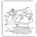 Раскраски по Библии - Давид и Голиаф 2
