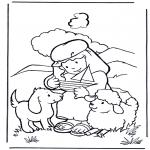 Раскраски по Библии - Давид пастух