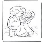 Раскраски по Библии - Давид со своей лирой