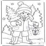 Зимние раскраски - Девочка и дерево