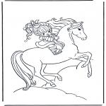 Раскраски с животными - Девочка на лошади 1