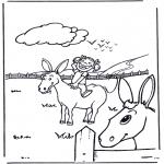 Раскраски с животными - Девочка с осликом