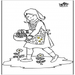 Детские раскраски - Девушка с цветами
