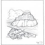 Раскраски по Библии - Дом на песке и на камне