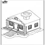 Зимние раскраски - Дом в снегу 1