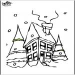 Зимние раскраски - Дом в снегу 2