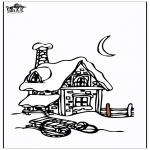 Зимние раскраски - Дом в снегу 3
