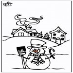Зимние раскраски - Дом в снегу 4