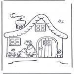 Детские раскраски - Домик с цветами