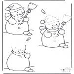 Зимние раскраски - Дорисовать снеговика