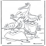Раскраски с животными - Два пеликана