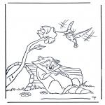 Раскраски с животными - Енот и колибри