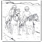 Раскраски с животными - Езда на лошади 1