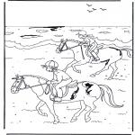 Раскраски с животными - Езда на лошади 2