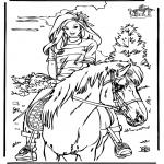 Раскраски с животными - Езда на лошади  4