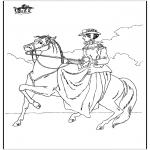 Раскраски с животными - Езда на лошади 6