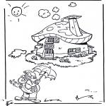 Детские раскраски - Гномик Плоп около домика