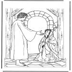 Раскраски по Библии - Иисус и больная