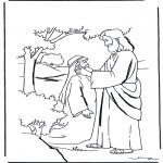 Раскраски по Библии - Иисус исцеляет глухого