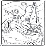 Раскраски по Библии - Иисус на озере