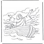 Раскраски по Библии - Иисус на воде 1