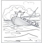 Раскраски по Библии - Иисус на воде 2