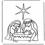 Раскраски по Библии - Иисус в колыбели 1