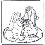 Раскраски по Библии - Иисус в колыбели 2