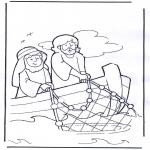 Раскраски по Библии - Иисус в лодке