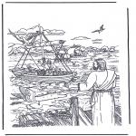 Раскраски по Библии - Иисус зовет Петра и Андрея