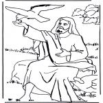 Раскраски по Библии - Илия и ворон