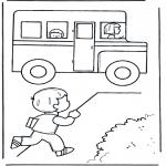 Детские раскраски - К школьному автобусу