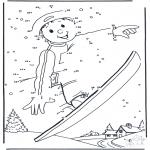 Зимние раскраски - Катание на доске