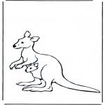 Раскраски с животными - Кенгуру с детенышем