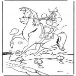 Раскраски с животными - Ковбой на лошади
