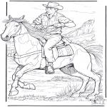 Раскраски с животными - Ковбой с лошадью