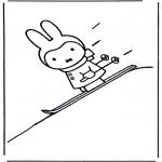 Детские раскраски - Кроличка на лыжах